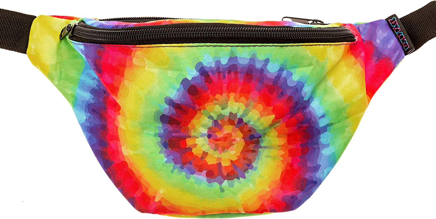 KANDYPACK Tie Dye Fanny Pack with Hidden Pocket Perfect for Raves and Festivals LYSB01H6Q6BYE-OFFSUPPLIES
