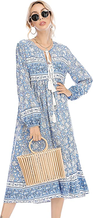 70s Clothes | Hippie Clothes & Outfits R.Vivimos Womens Long Sleeve Floral Print Retro V Neck Tassel Bohemian Midi Dresses $28.99 AT vintagedancer.com