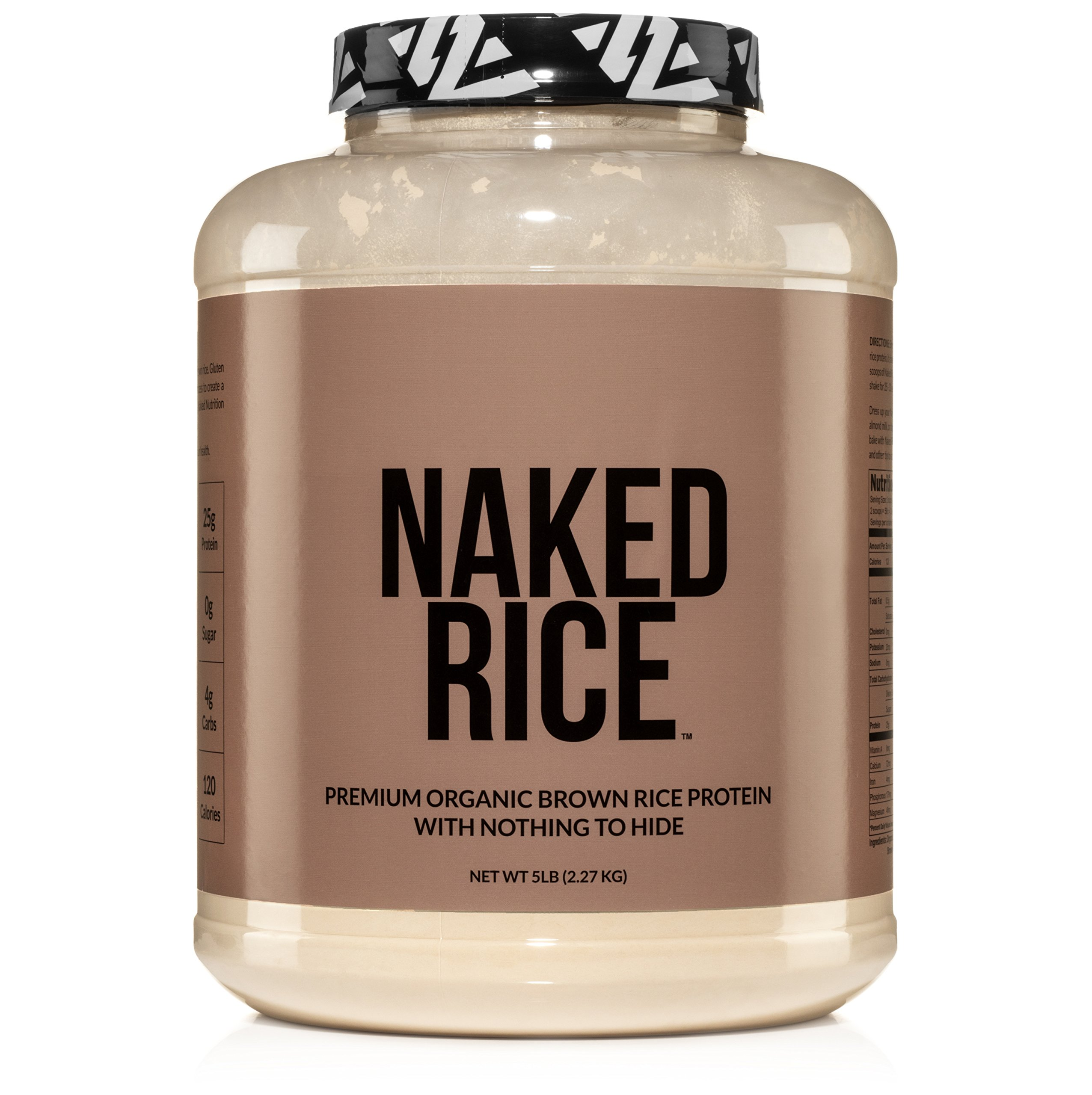NAKED RICE - Organic Brown Rice Protein Powder – Vegan Protein Powder - 5lb Bulk, GMO Free, Gluten Free & Soy Free. Plant-Based Protein, No Artificial Ingredients - 76 Servings
