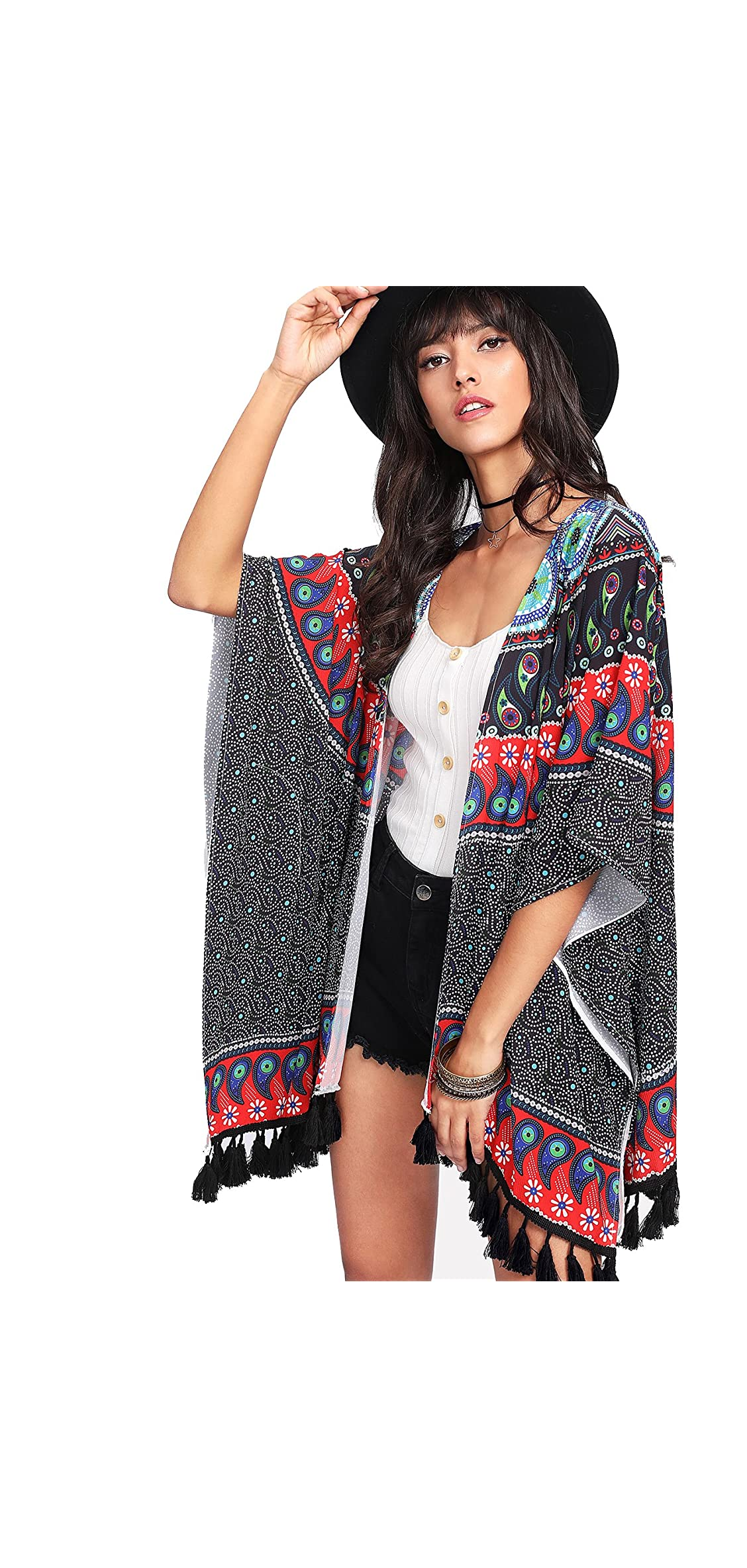 Women's Vintage Floral Printed Shawl Beach Cover Up