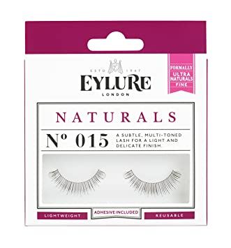 dbf37f7c44e Amazon.com : Eylure Naturals False Eyelashes, Style No. 015, Reusable,  Adhesive Included, 1 Pair : Beauty