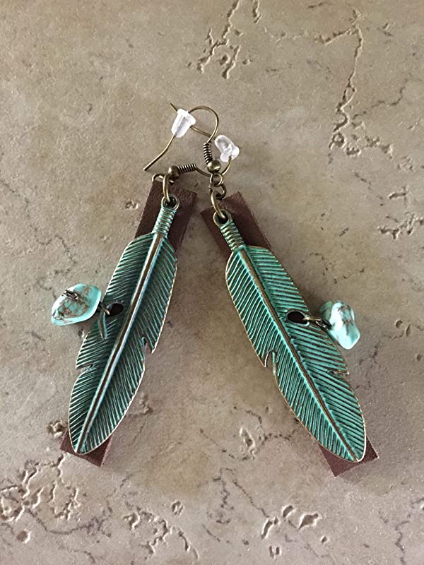 Patina Leaf Earrings--Boho Earrings-Verdigris Bronze Leaves