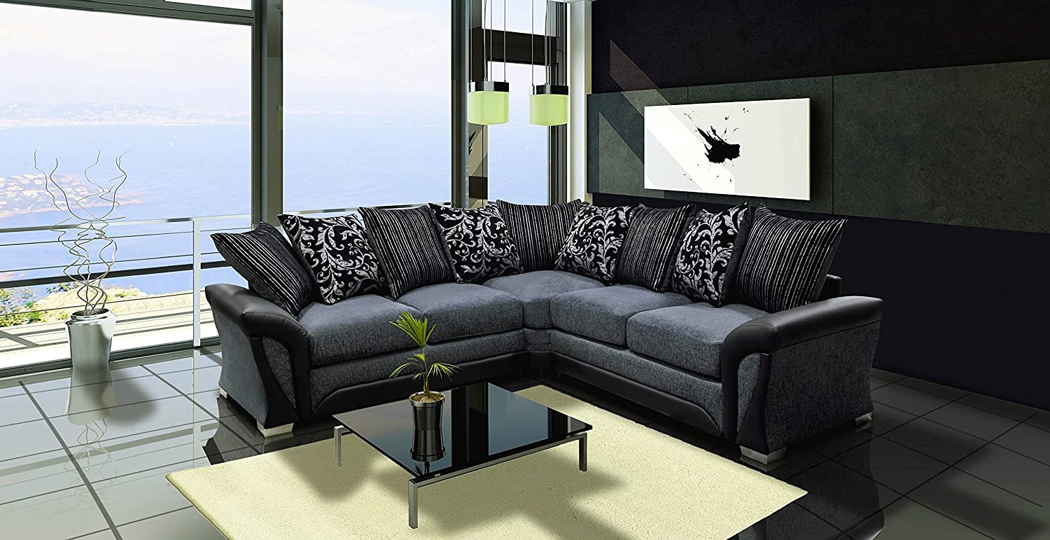 Designer couch  Shannon Black and Grey Fabric and Chenille Designer Sofa Settee ...
