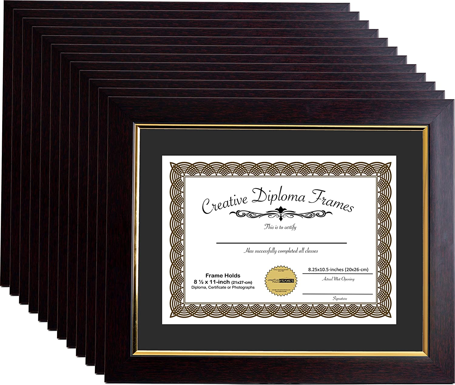 11x14-inch Matted Eco Mahogany Finish Diploma Frame Gold Lip with Black//White Core Mat Holds 8.5x11-inch Media mhg024 CreativePF with Installed Hangers