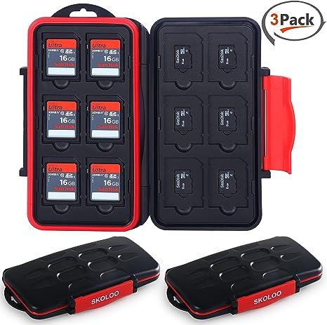 Pack de 3 fundas de tarjeta de memoria Skoloo, SNUGLY-FIT/Waterproof/12+12 ranuras/SD Micro SD SDHC SDXC TF caja organizadora para SanDisk Kingston Camera Canon Samsung: Amazon.es: Electrónica