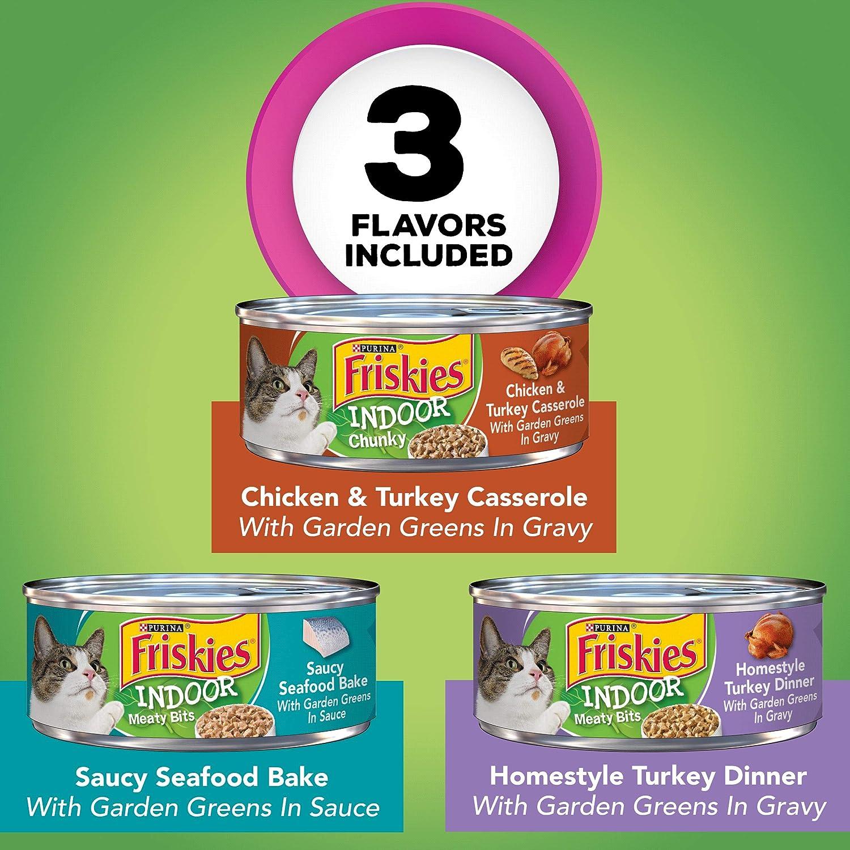 Purina Friskies Indoor Wet Cat Food Variety Pack, Indoor - (24) 5.5 oz. Cans