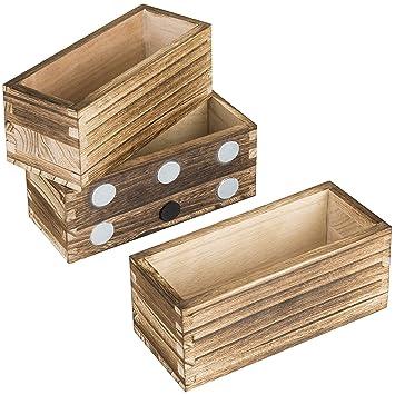 MyGift - Juego de 3 bandejas magnéticas rústicas de madera atornillada