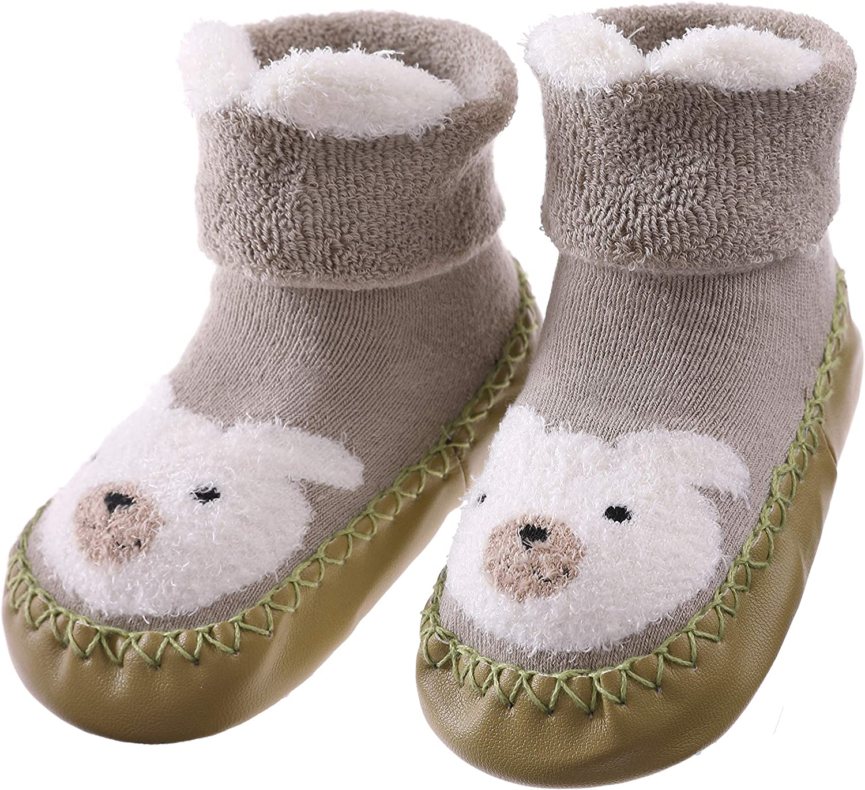 FANZERO Baby Boys Girls Toddlers Cute Animal Slipper Shoe Socks Non-Skid Winter Warm Cotton Indoor Moccasins