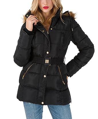 AKD Doudoune Femme Capuche Fausse Fourrure Ceinture Amovible Longue Manteau  Hiver Veste Parka Blouson Chaud Jacket Noir ef0f4140bbae