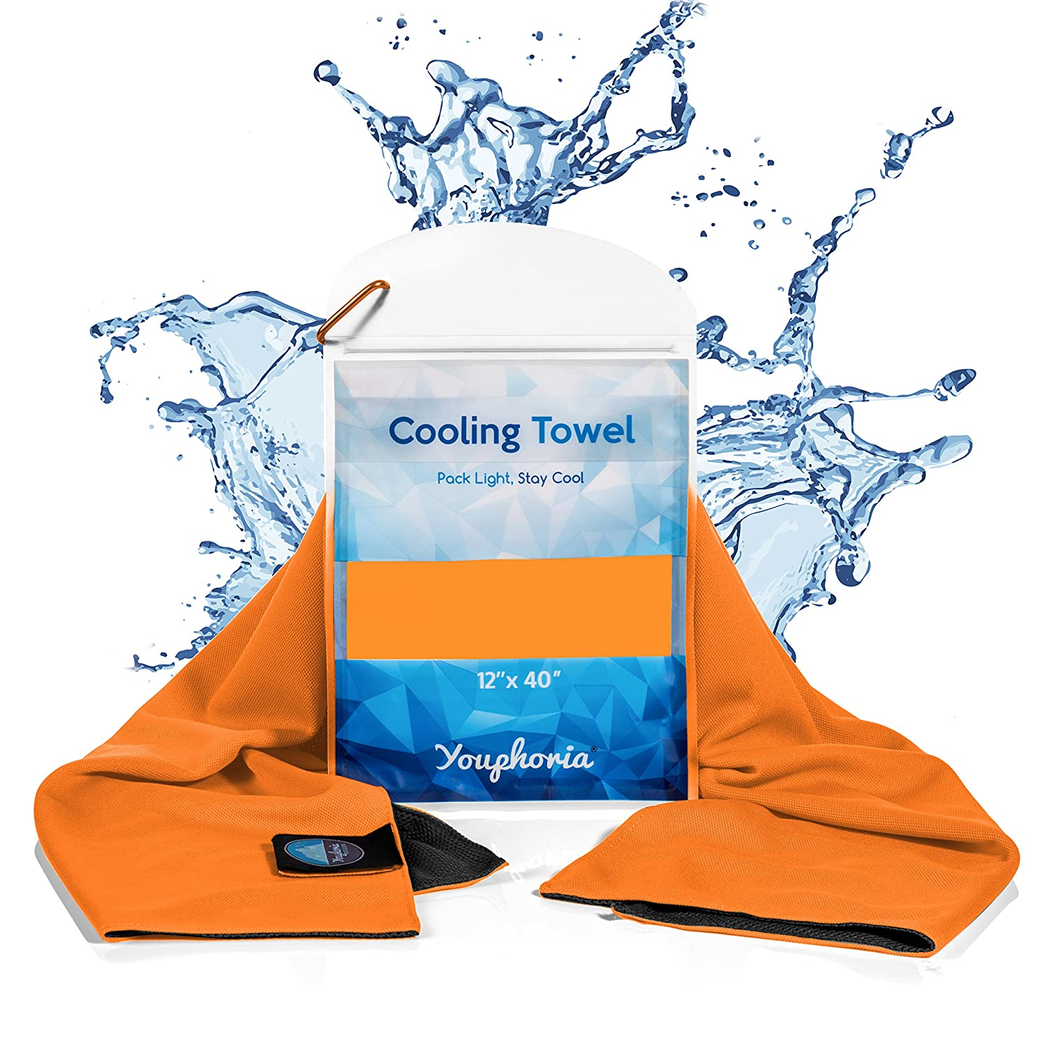 Youphoria Outdoors Cooling Towel, Cooling Towel for Hot Weather, Over Heating, Sports, Work, and Fatigue, Waterproof Carry Case Included - 1PK