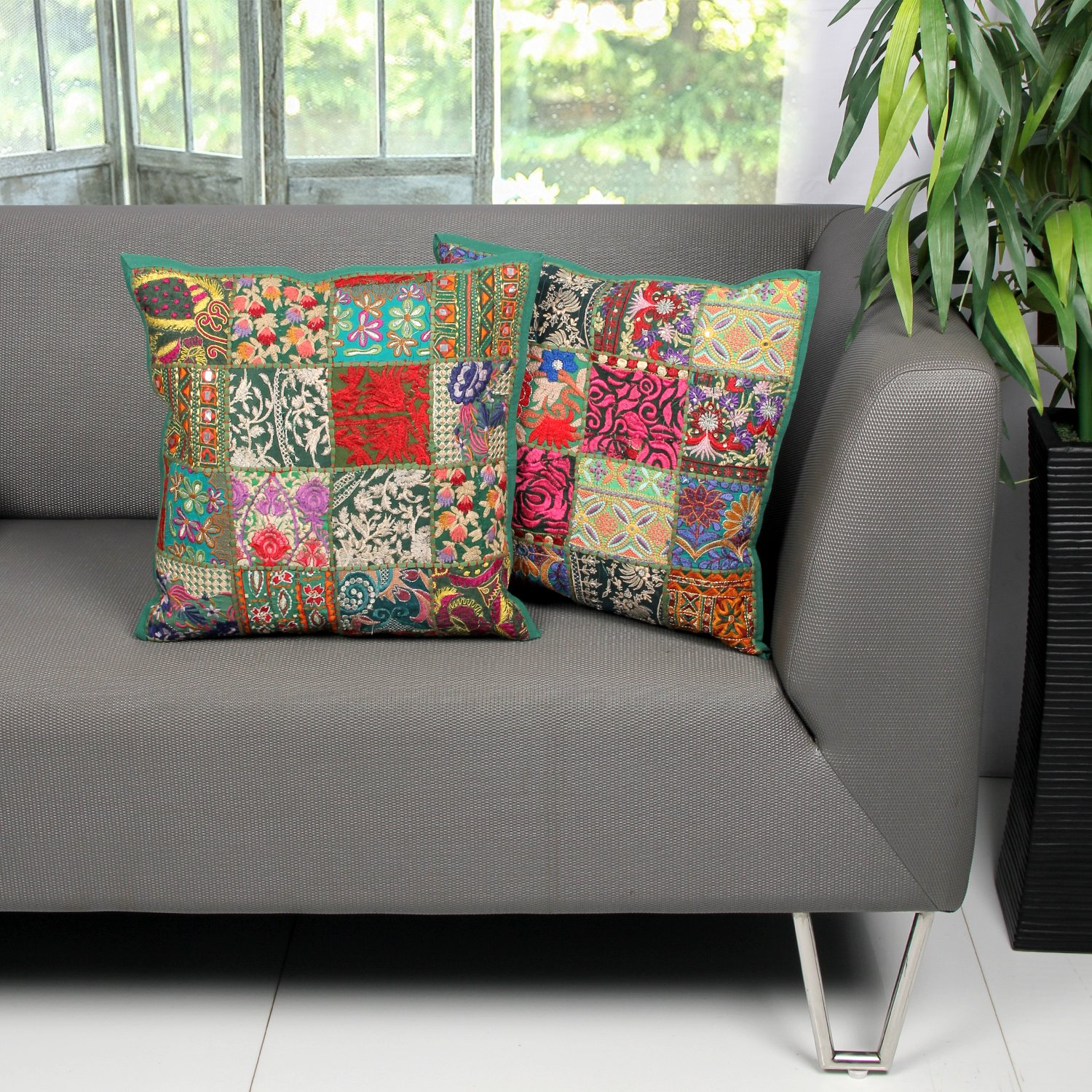 Set of 2 Green Indian Traditional Designer Throw Pillow Cases Embroidery Sequin Patchwork Cushion Covers for Sofa Home Bed Decor - Aheli