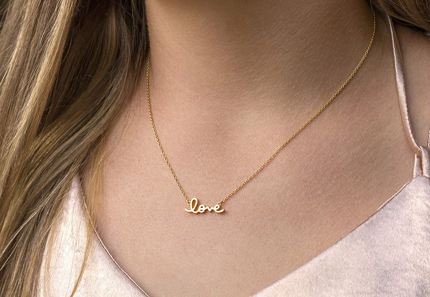LOVE bubble font Engraved Disc Necklace 24k Gold or 925 Sterling Silver Chain Pretty Valentine/'s Jewelry Free Shipping