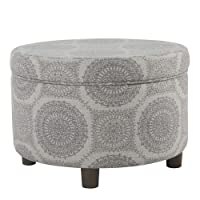 Deals on HomePop Round Storage Ottoman