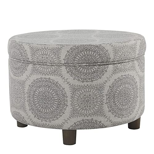 HomePop Round Upholstered Storage Ottoman, Grey Medallion