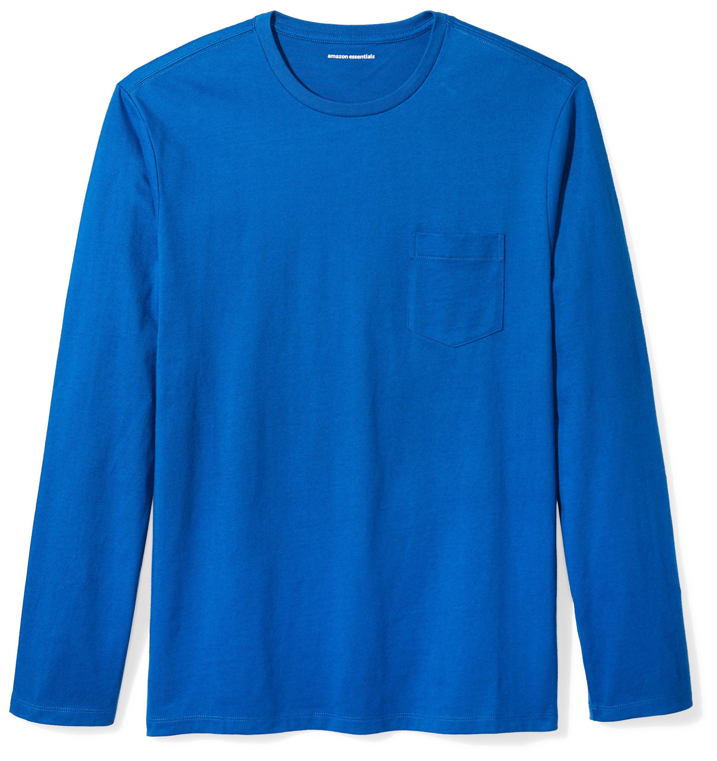 Amazon Essentials Men's Regular-Fit Long-Sleeve Pocket T-Shirt, Bright Blue, Medium