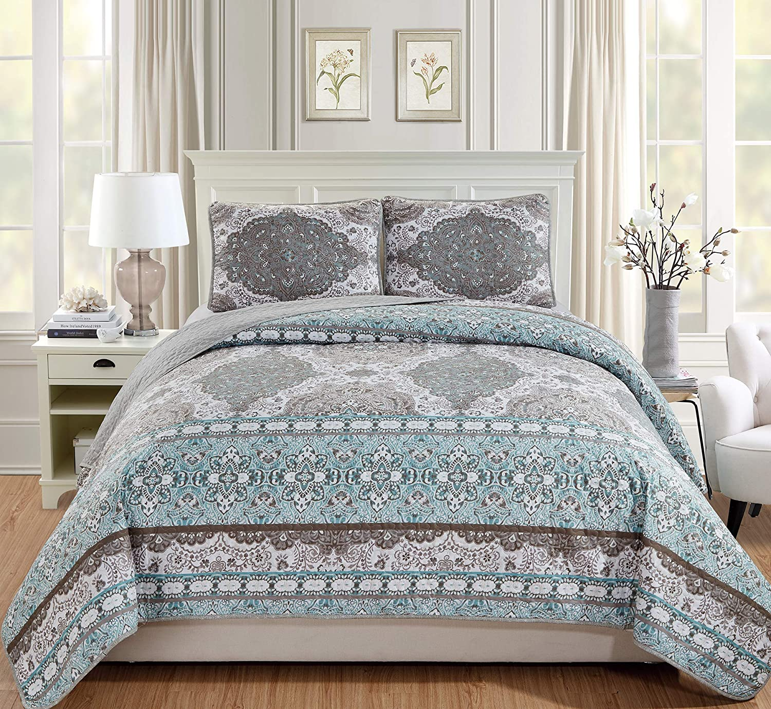 Mk Home 3pc King/California King Bedspread Coverlet Set Floral Aqua Blue Grey White Taupe New