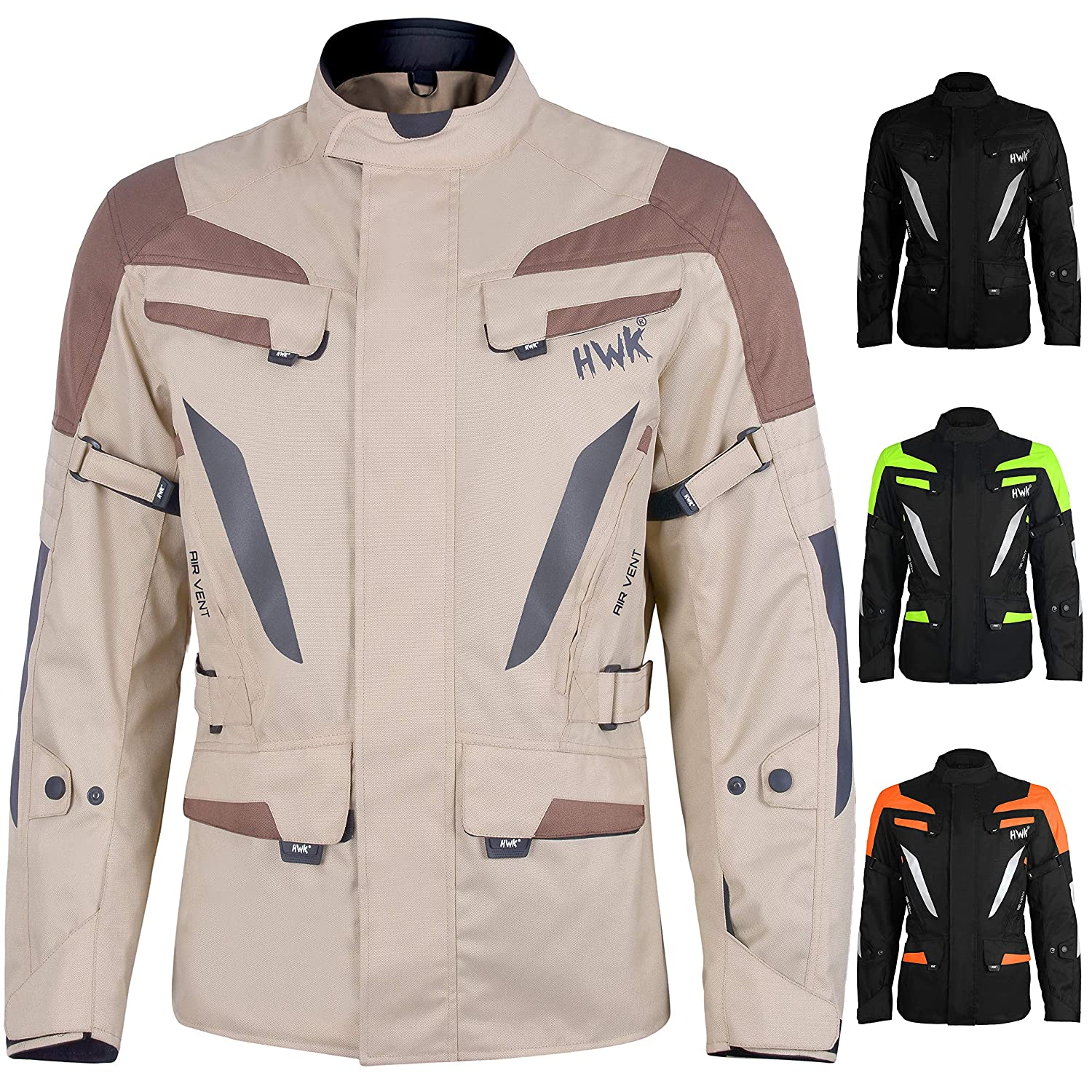 Neon-Orange, 2XL Adventure//Touring Mens Motorcycle Jacket Adv Dual Sport Racing CE Armored Waterproof Windproof Jackets All-Weather