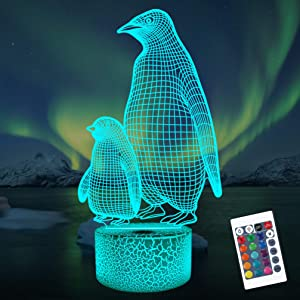 Lampeez Penguin 3D Night Light for Kids, 16 Colors Changing Illusion Lamp with Remote Control Dimmable Function 4 Flashing Mode, Kids Bedroom Decor Gifts for Boys Girls