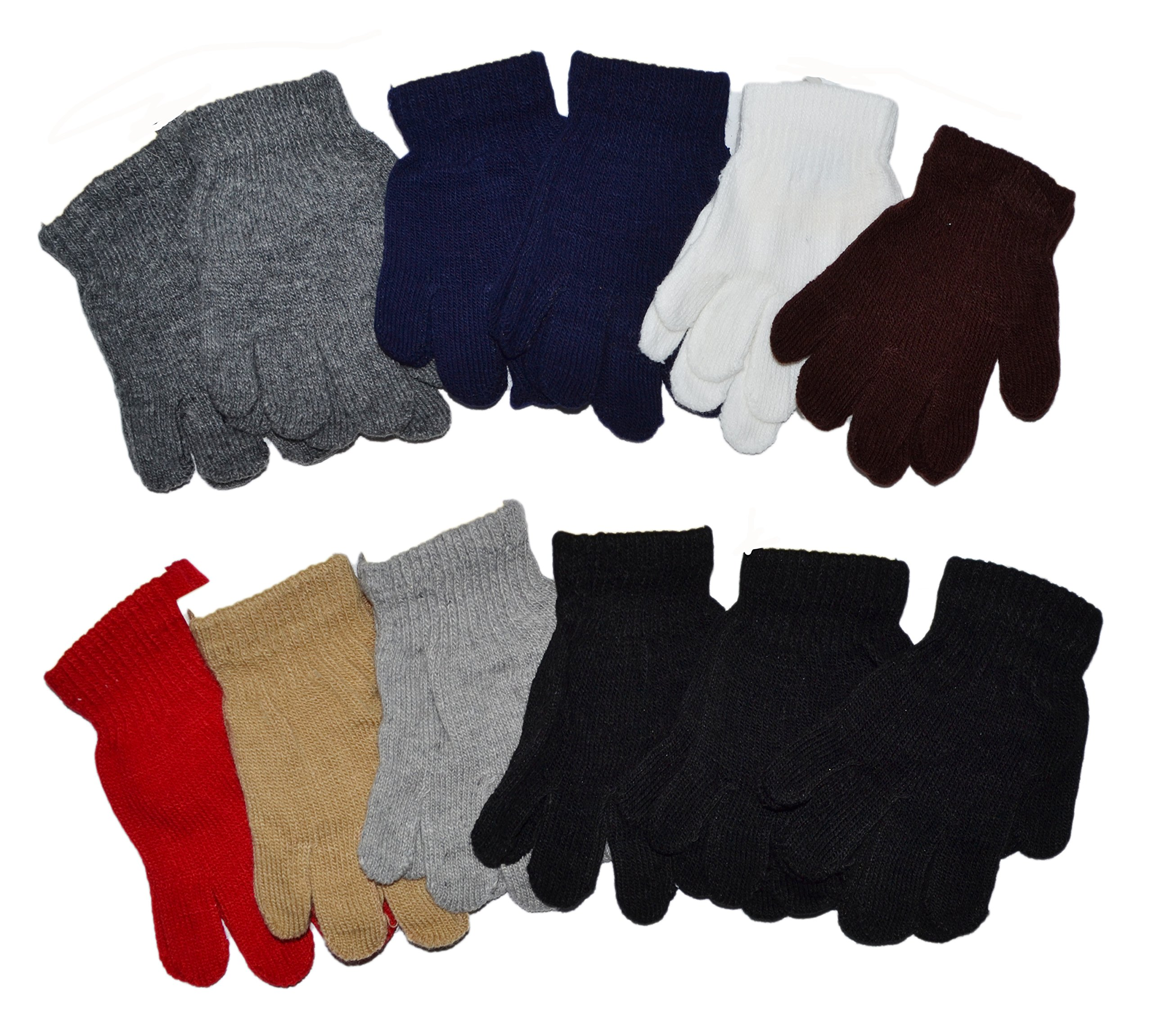 OPT Brand. Kids Magic Gloves Children Knit Gloves Wholesale 12 Pairs (1 to 5 years) (Assorted Color 1) by OPT (Image #1)