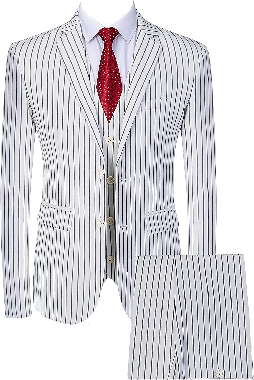 1960s Mens Suits | 70s Mens Disco Suits Mens 3 Piece Pinstripe Suit Slim Fit Casual Dress Suits Blazer + Vest + Pants $95.99 AT vintagedancer.com