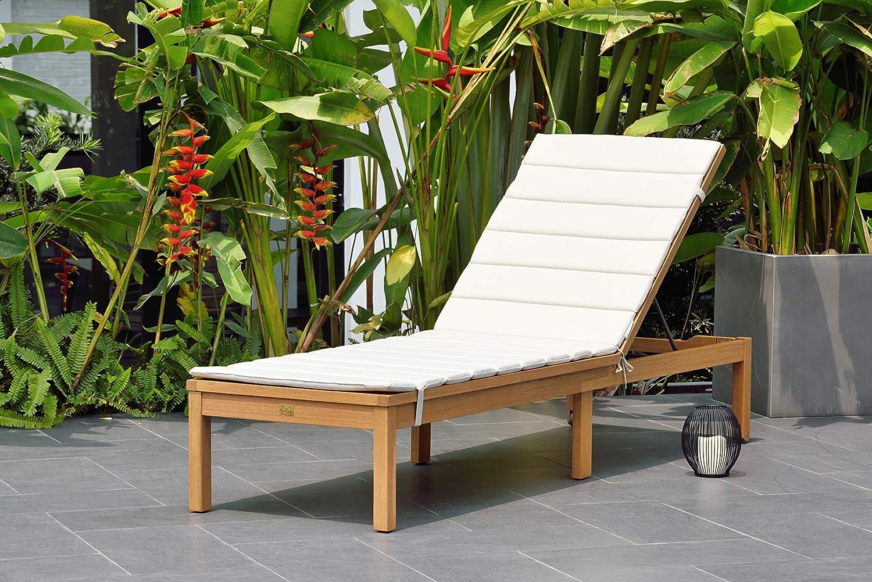 Amazonia Regatta Patio Chaise Lounger Durable Outdoor Furniture With Teak Finish Grey Cushion Garden Outdoor