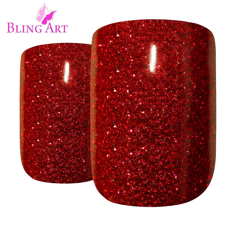 Bling Arte falso Uñas Manicure Francés Rojo Gel Glitter brillante