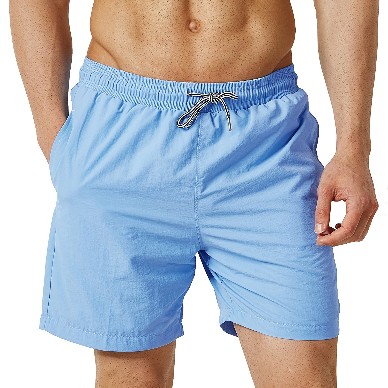 cd9fb41e6e MATERIAL: 100% Polyester - Quick-drying strong and soft, made with comfort  technology fabric, our mens bathing suits all get great quick dry function,  ...