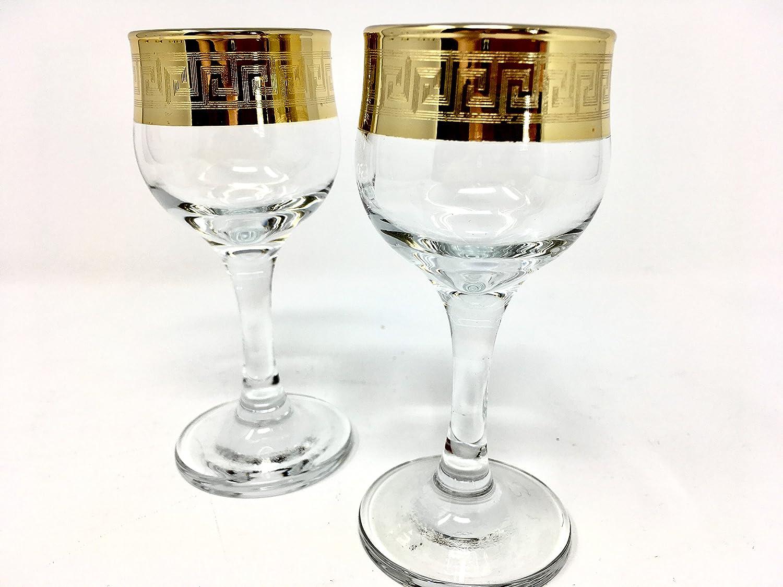 GOLD PLATED SET OF 6 CORDIAL VODKA LIQUEUR WHISKEY GLASSES ENGRAVED VINTAGE GREEK DESIGN CLASSIC STEM GOBLETS CRYSTAL GLASS SHOT GLASSES 2oz.//60ml