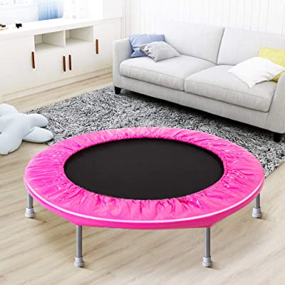 Henf 38 Inch Mini Trampoline, Indoor Outdoor Foldable Exercise Rebounder Trampoline for Kids Adults, Stable & Quiet Jumping Trampoline Garden Workout, Max Load 180 lbs : Sports & Outdoors