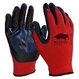 5 paia di Bullwork PowerGrip ad alta presa | guanti da lavoro misura 10 | copertura in gomma nitrilica|certificate EN388:4131