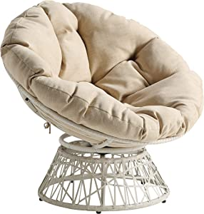 OSP Home Furnishings Wicker Papasan Chair with 360-Degree Swivel, Cream Frame with Cream Cushion