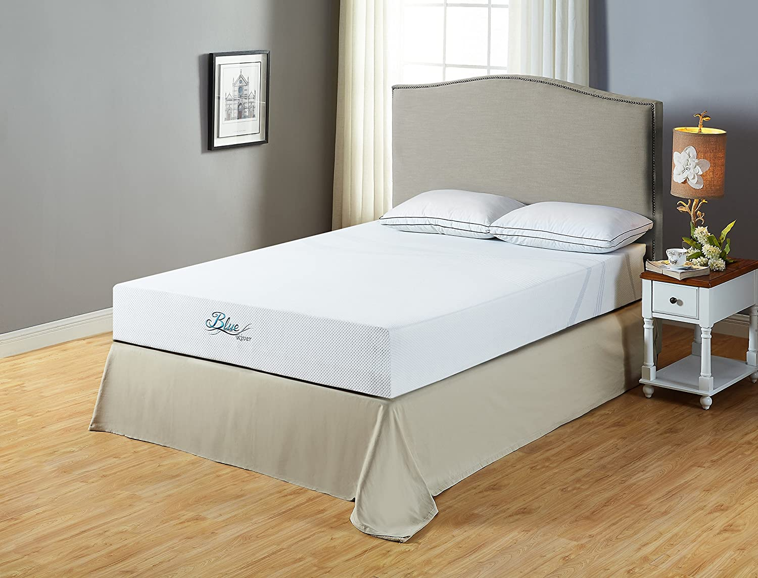 Roundhill Furniture Blue River Gel-Infused Green Tea Mattress, Full