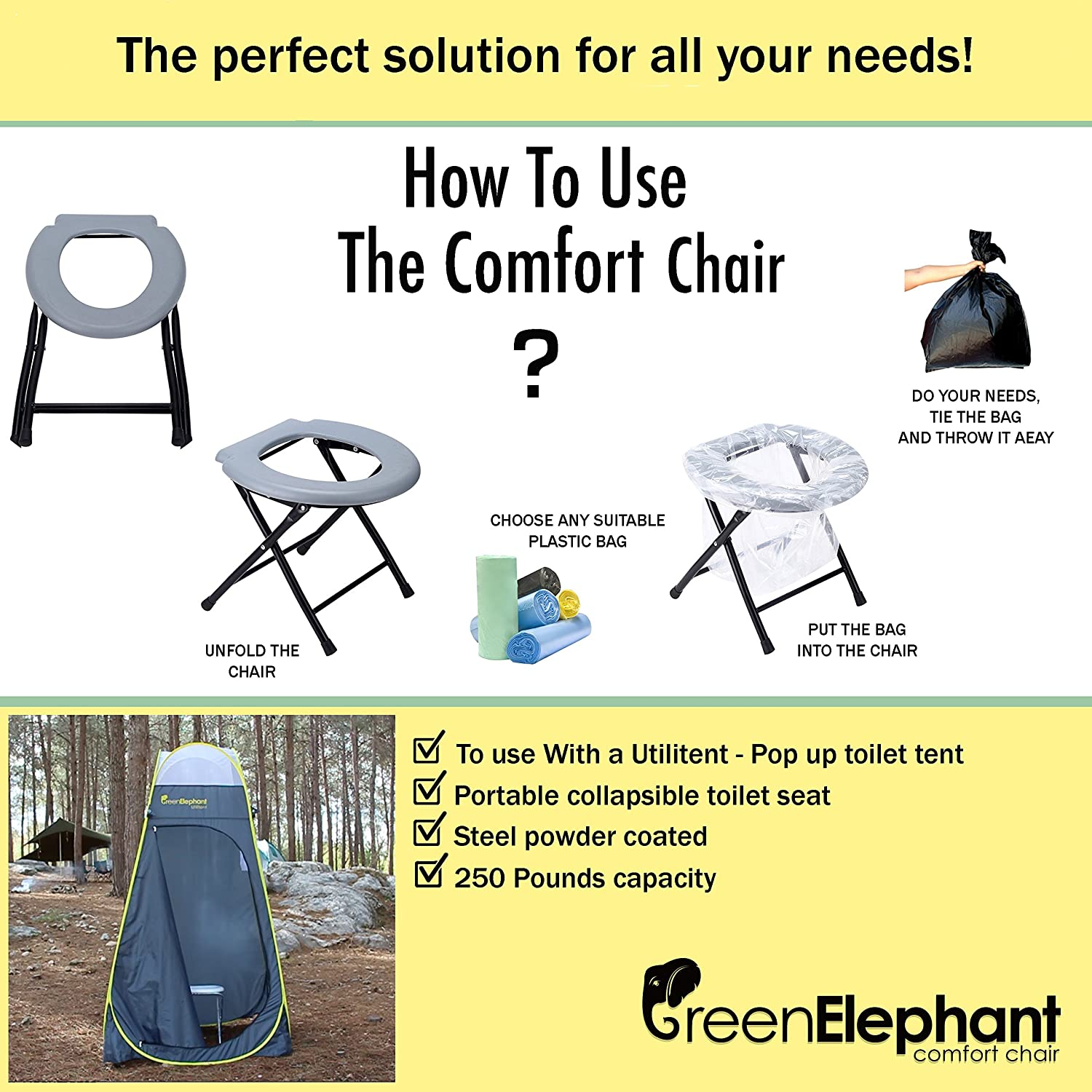 How to use commode bathroom - Amazon Com Folding Commode Portable Toilet Seat Porta Potty And Commode Chair Comfort Chair Perfect For Camping Hiking Trips Construction Sites