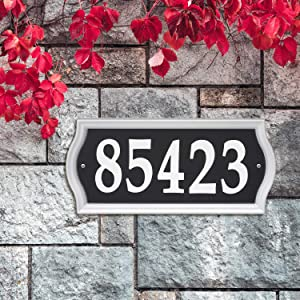 Whitehall 14341 Nite Bright Ashland Reflective Address Numbers Sign, Black/Silver