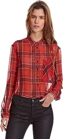 Bershka Camisa Mujer Chiffon Cuadros Manga Ranglan Corta Rojo ...