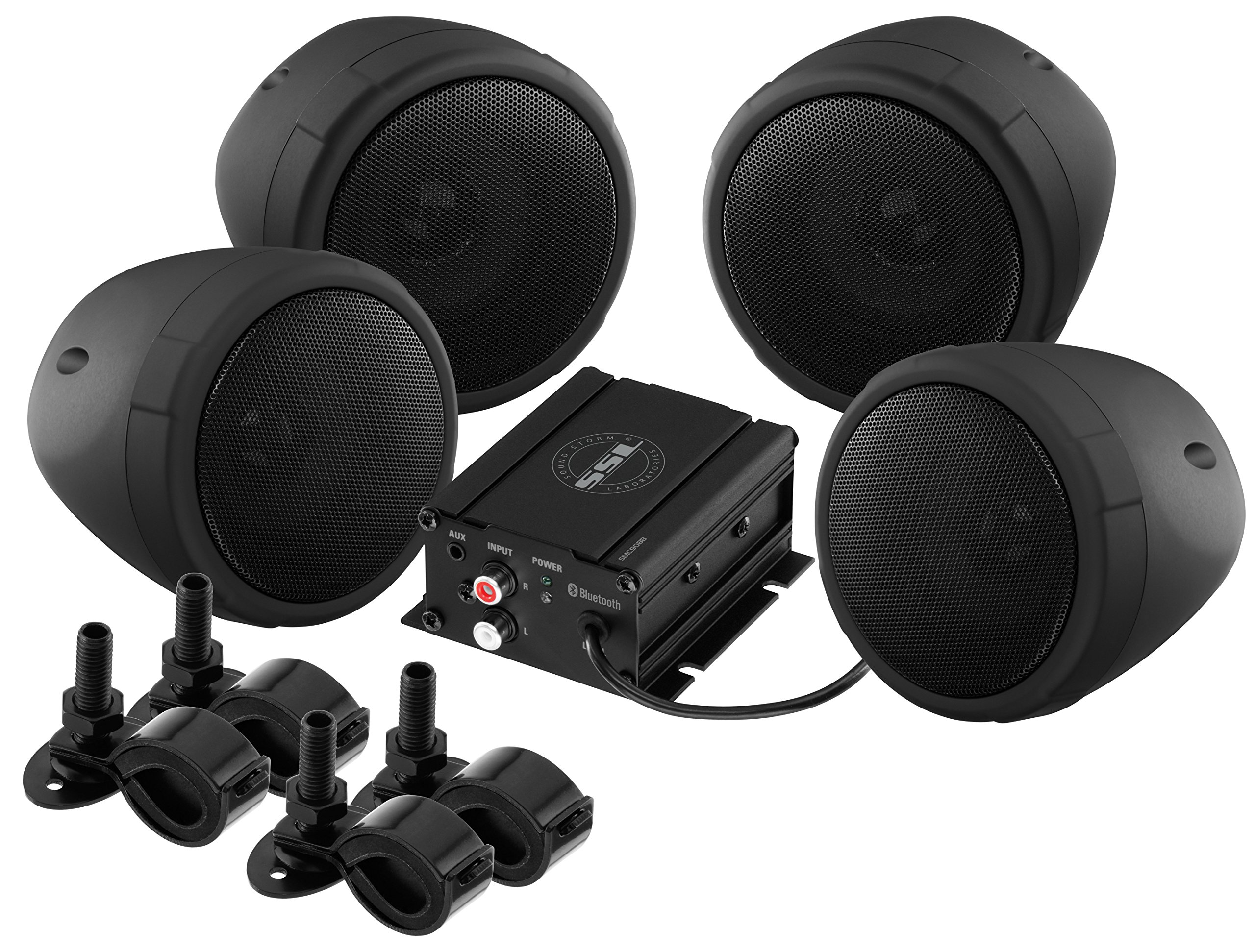 Sound Storm SMC90BB Sound System, Weatherproof, Bluetooth Amplifier, 3 Inch Speakers, Inline Volume Control, Ideal for Motorcycles/ATV and 12 Volt Applications