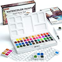 Watercolor Paint Set, Shuttle Art 48 Colors Watercolour Paint in Half Pans with 2 Water Brush Pens, 10 Paint Brushes, 1…