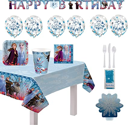 Cups Frozen 2 Birthday Party Supplies and Decoration Pack For 16 With Plates Add An Age Banner Snowflake Candle Fall Leaves Napkin Confetti Balloons and Frozen Inspired Pin Tablecover
