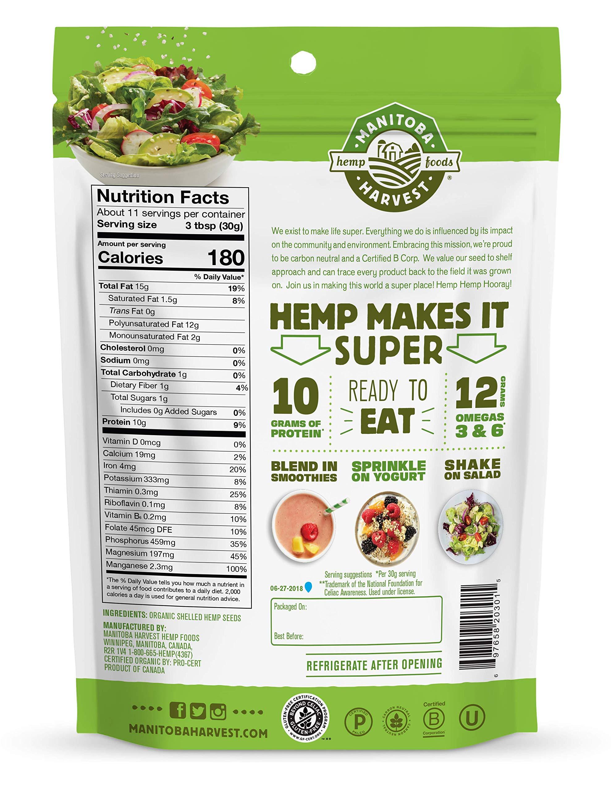 Manitoba Harvest Organic Hemp Hearts Raw Shelled Hemp Seeds, 12oz; with 10g Protein & Omegas per Serving, Non-GMO, Gluten Free by Manitoba Harvest (Image #2)