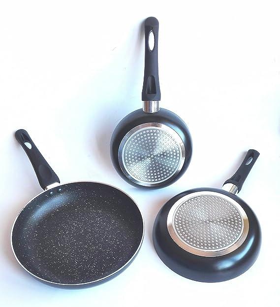 Happy Friends - Sartén de Aluminio Forjado con Triple Capa de Revestimiento de Piedra Antiadherente - Set de 3 Sartenes - Ø 18, 22 y 26 cm: Amazon.es: Hogar