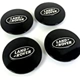 Set of 4 Land Rover Alloy Wheels Centre Hub Caps 63mm Cover ALL BLACK Silver Wheel Badge