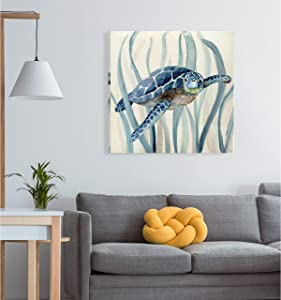 Wexford Home Turtle in Seagrass I -Gallery Wrapped Canvas - Yellow, Blue, Green, red, Black, White 24X24