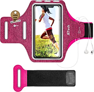 JETech Cell Phone Armband Case for iPhone SE(2020)/11/11 Pro/XR/XS/X/8 Plus/7 Plus/8/7/6s/6, Galaxy S10/S9/S9+, Adjustable Band, w/Key Holder and Card Slot, for Running, Walking, Hiking, Plum
