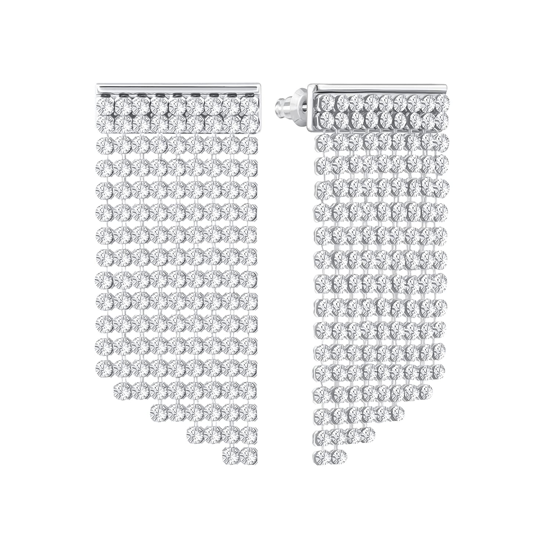 cf350303c27bf Swarovski Fit Short Pierced Earrings, White, Palladium plating