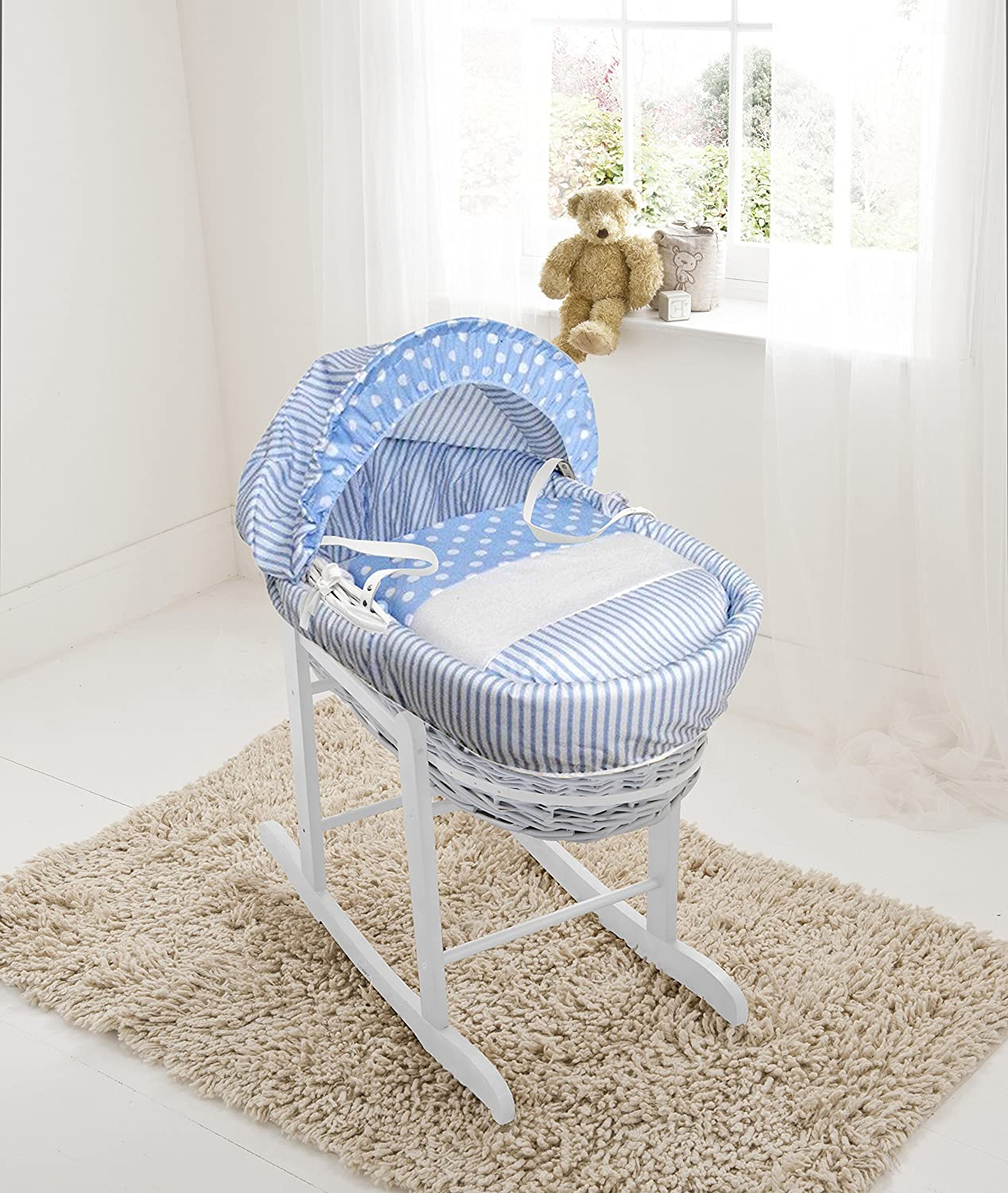 Blue Spots & Stripes White Wicker Moses Basket & Deluxe White Rocking Stand Elegant Baby
