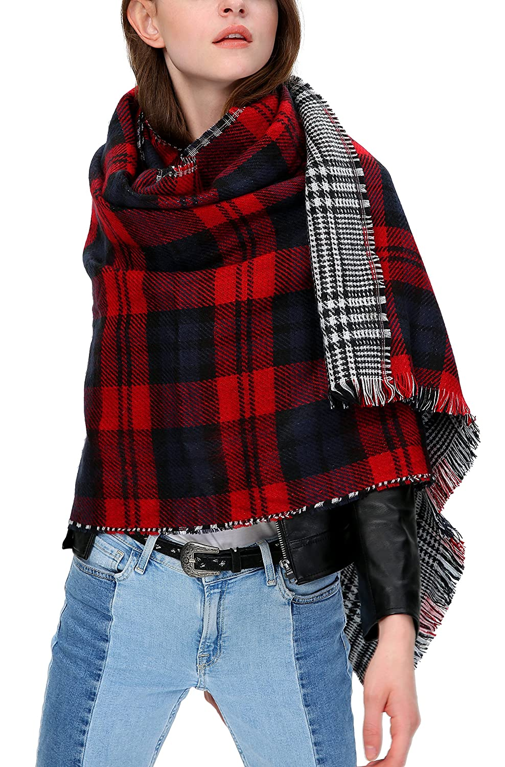 Women's Scarf Plaid Striped Scarves Shawls Blanket Poncho with Fringe Trims (Series 1 green) Bingo E-Commerce JX5008G