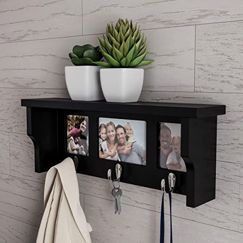 Lavish Home Wall Shelf and Picture Collage with Ledge and 3 Hanging Hooks Frame Decor Shelving with Modern Look, Holds 3 Photos Black