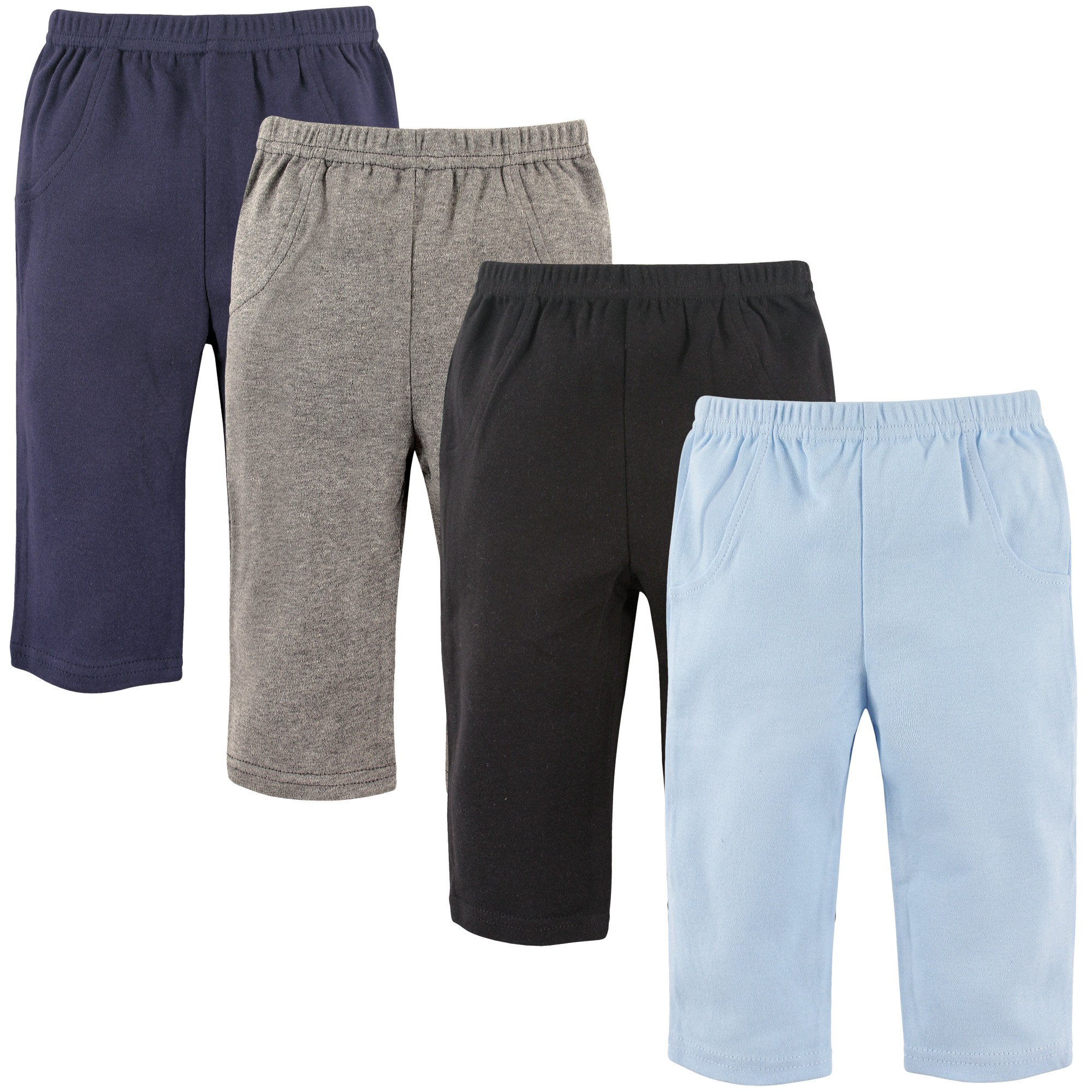 Luvable Friends Baby Cotton Tapered Ankle Pants, Boy Solids 4pk, 0-3 Months