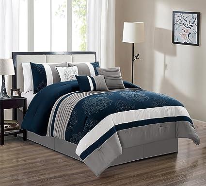 Amazoncom Jaba Embroidered 7 Piece Bedding Set White Grey Navy