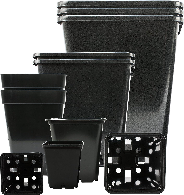 Maceta de Planta Profesional de 5 pz. Cuadrangular 25x25x26cm 11L, plástico PP, Maceta de Semillas para Plantas pequeñas plántulas & esquejes